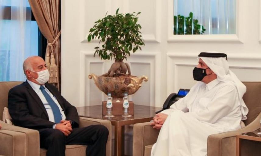الرجوب ووزير الخارجية القطري