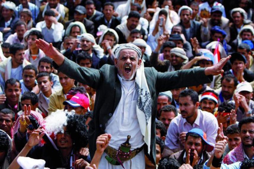 أثناء مظاهرة في اليمن